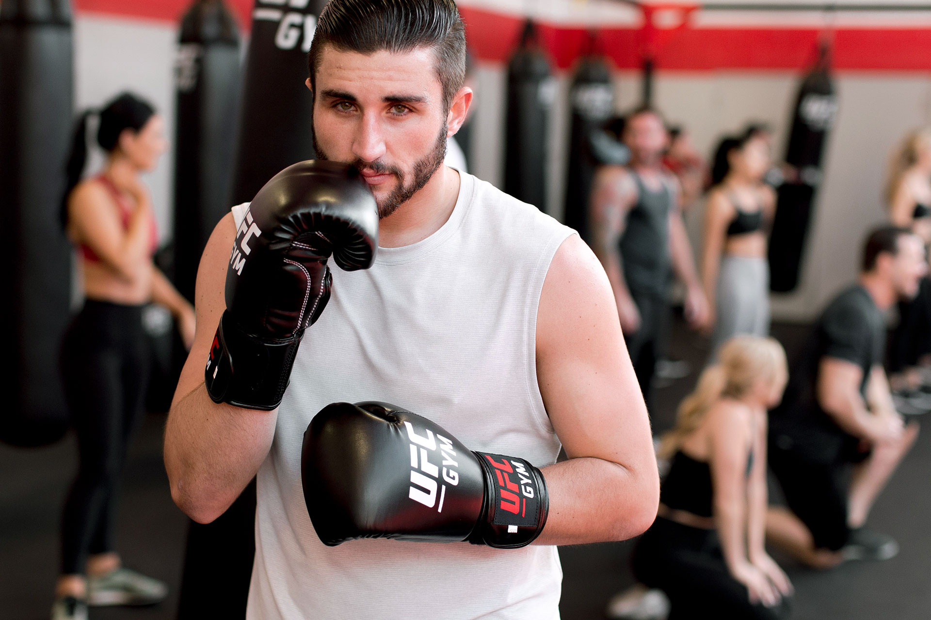 A member with boxing gloves on