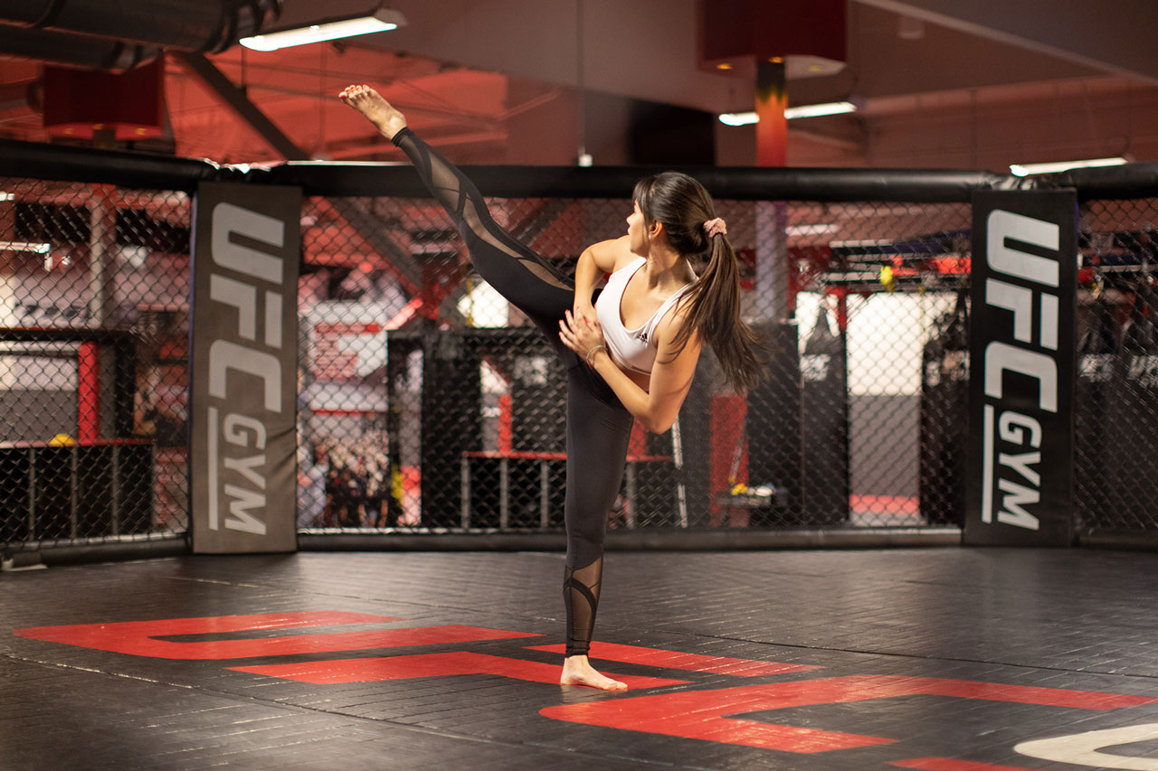 A member is practicing MMA