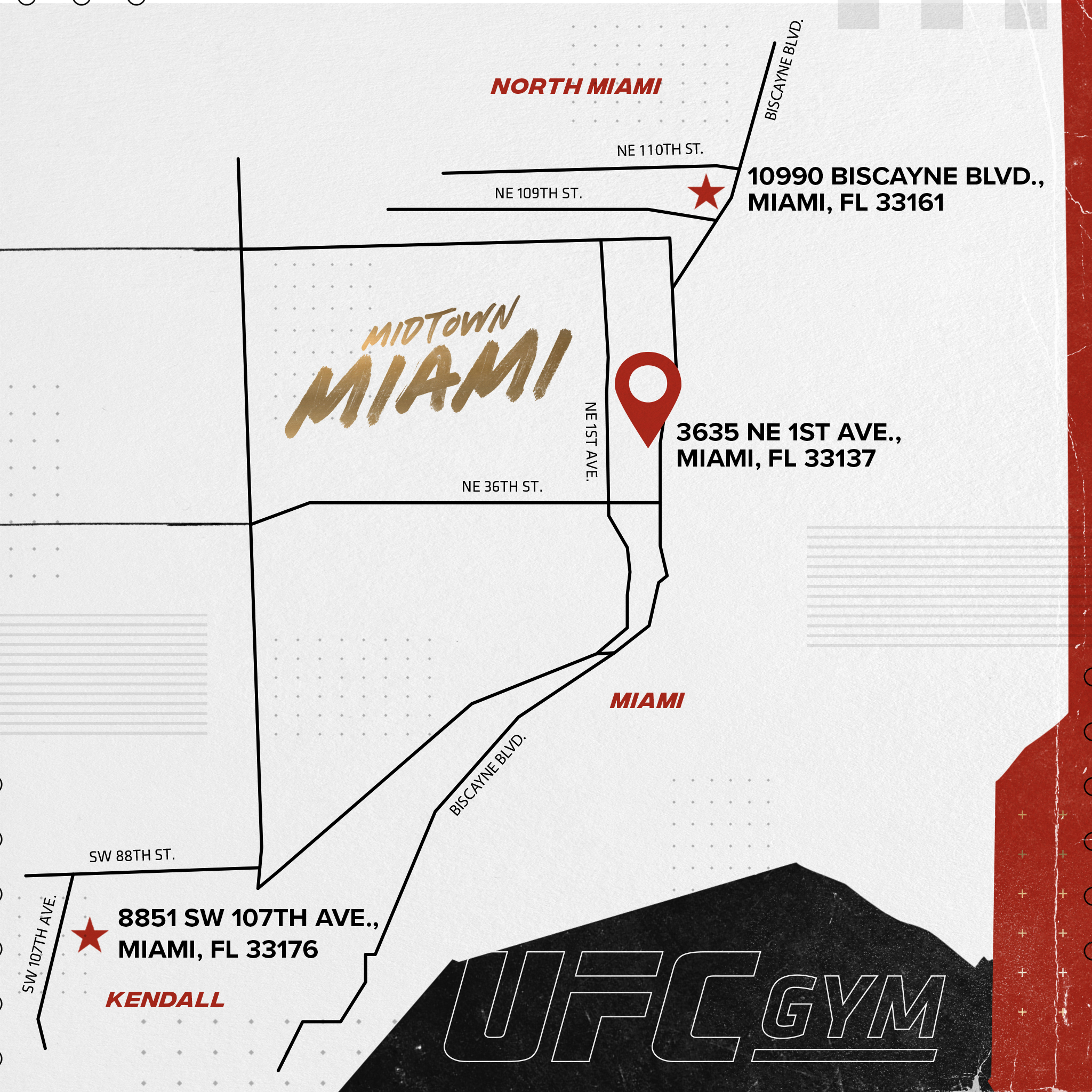 Map to UFC GYM Miami-Midtown